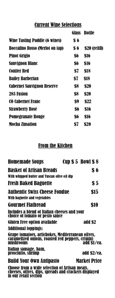 Wine and food menu 1 page